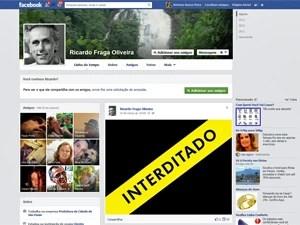 Página do Facebook de Ricardo Fraga com protesto interditado pela Justiça (Foto: Reprodução/Facebook)