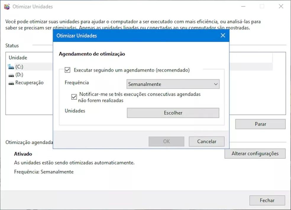 Configurando a manutenção automática — Foto: Reprodução/Helito Bijora