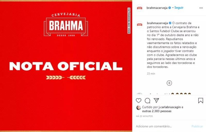 Brahma não renovará patrocínio ao Santos se Robinho jogar no clube — Foto: Reprodução / Instagram