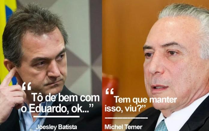 Diálogo entre Joesley Batista e Michel Temer — Foto: Marcelo Camargo/Agência Brasil e Beto Barata/PR