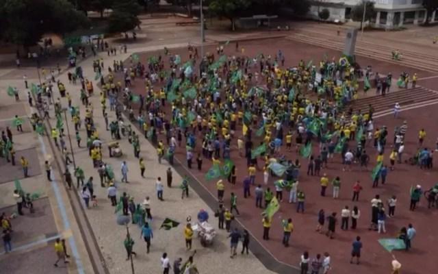 Protesto em defesa do presidente Jair Bolsonaro em Goiânia Goiás neste sábado, Dia do Trabalhador — Foto: Reprodução/TV Anhanguera