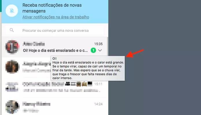 Mensagem visualizada sem abrir o chat no WhatApp Web (Foto: Reprodução/Marvin Costa)
