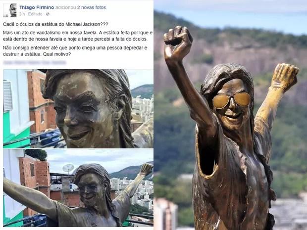 Post mostra estátua de Michael Jackson sem óculos; ao lado, a estátua inteira (Foto: Reprodução / Facebook e Alexandre Macieira / Riotur)