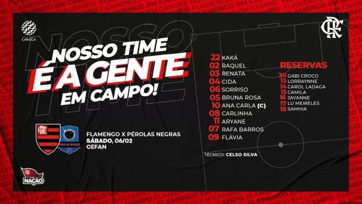 Escalação do Flamengo contra o Pérolas Negras — Foto: Reprodução