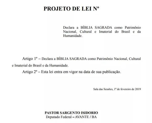 Proposta do deputado Pastor Sargento Isidório (Avante-BA) quer transformar a Bíblia em patrimônio nacional, cultural e imaterial do Brasil e da Humanidade — Foto: Reprodução/Câmara dos Deputados