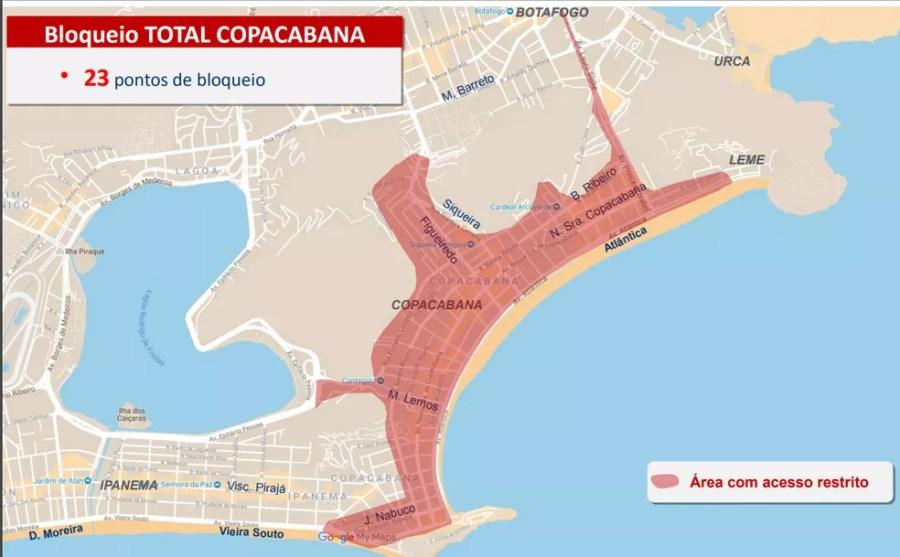 O bairro de Copacabana será fechado para o trânsito às 20h de quinta (31) — Foto: Reprodução/COR