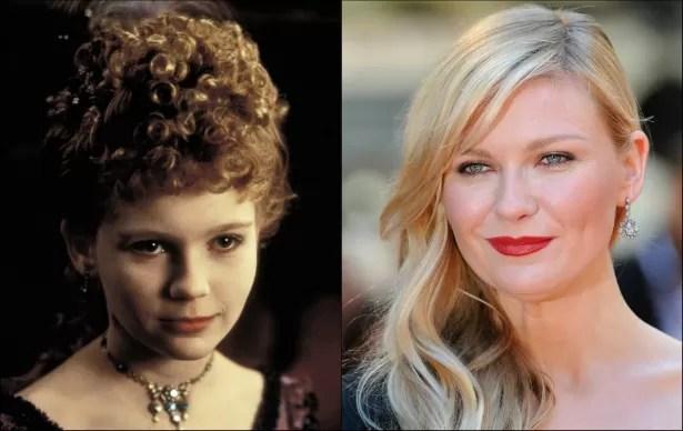 Kirsten Dunst tinha 11 anos quando começaram as gravações de 'Entrevista Com o Vampiro' (1994), em que ela interpreta a intensa Claudia. A atriz hoje está com 32 anos. (Foto: Reprodução e Getty Images)