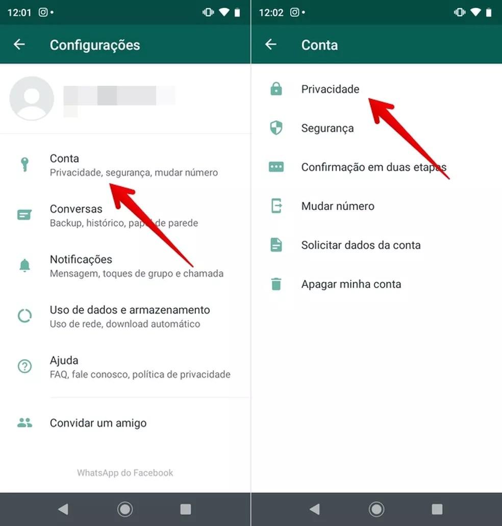 Abra as configurações de privacidade — Foto: Reprodução/Helito Beggiora