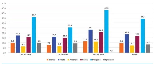 Percentual de crianças e adolescentes de 6 a 17 anos com Ensino Médio incompleto que não frequentam a escola, por faixa etária e raça/cor, Brasil, 2020 — Foto: IBGE. Pnad-Covid, nov. 2020