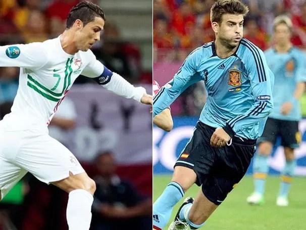 Cristiano Ronaldo, de Portugal, e Gerar Piqué, da Espanha, se enfretam nesta quarta, pela semifinal da Eurocopa (Foto: Agência AP / EFE / Reprodução: Globoesporte.com)