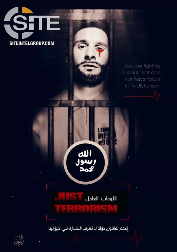 Imagem divulgada pelo Estado Islâmico com ameaça a Leonel Messi (Foto: Reprodução/SITE)