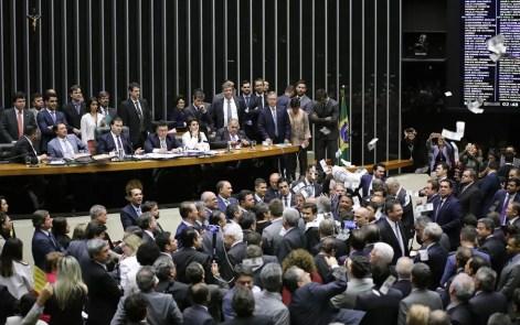 Plenário da Câmara durante votação da denúncia contra Temer (Foto: Gilmar Felix/Câmara dos Deputados)