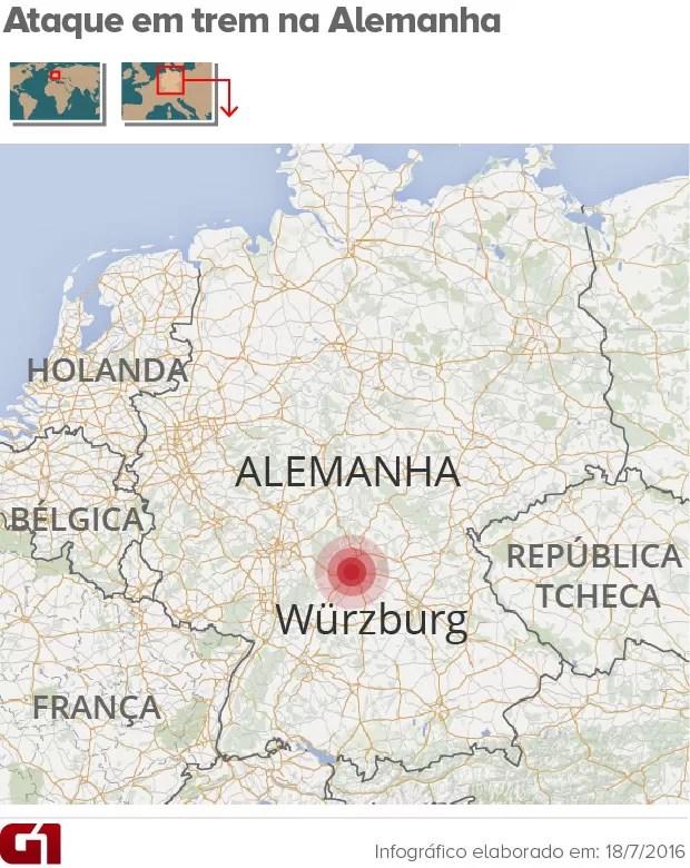 CORRIGIDO: Mapa ataque em trem na alemanha (Foto: ArteG1)