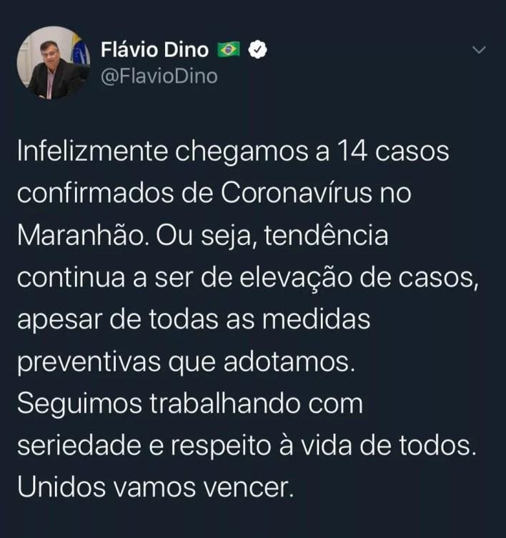 Governador Flávio Dino confirma por meio de uma rede social para quatro novos casos do novo coronavírus no Maranhão — Foto: Divulgação/Redes Sociais