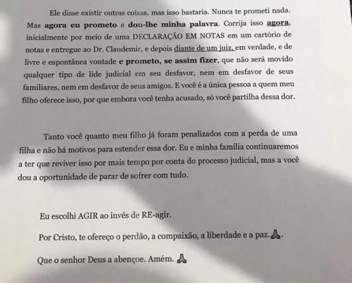 Na carta, Maria Gorete orienta como Micilene deve fazer para desistir do processo contra o filho — Foto: Arquivo pessoal