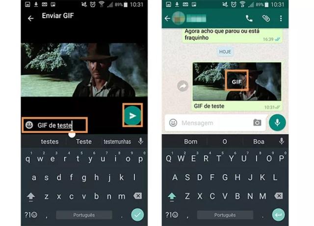 Envie o GIF na conversa com seu amigo (Foto: Reprodução/Barbara Mannara)