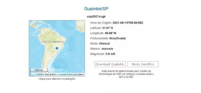 Tremor em Guaimbê foi registrado pelo Centro de Sismologia da USP  — Foto: Centro de Sismologia da USP/ Reprodução