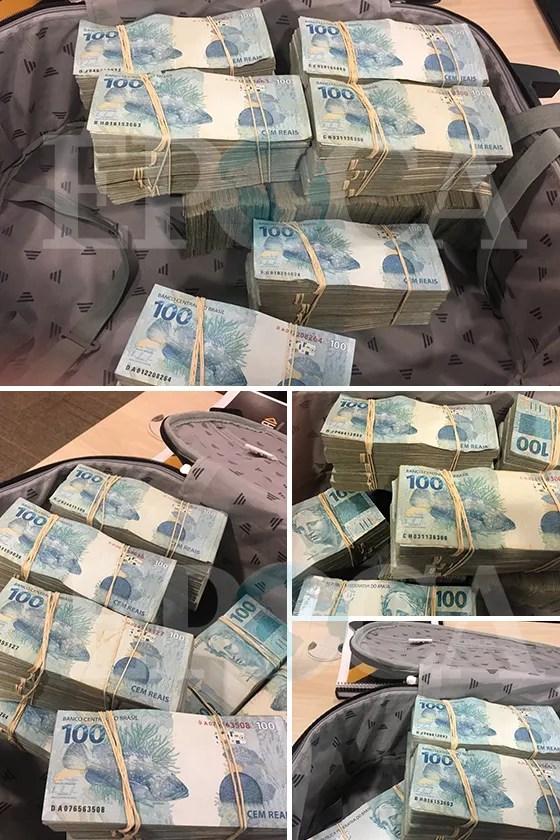 Fotos da mala de dinheiro entregue ao emissário do senador Aécio Neves em 3 de maio (Foto: reprodução)