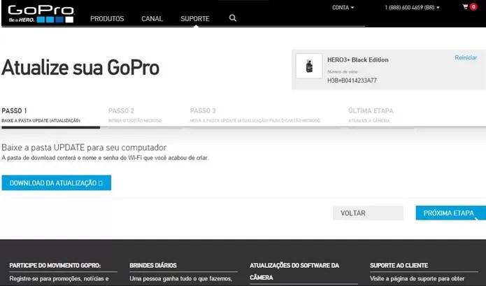 Mantenha o software da GoPro sempre atualizado (Foto: Reprodução/GoPro) (Foto: Mantenha o software da GoPro sempre atualizado (Foto: Reprodução/GoPro))