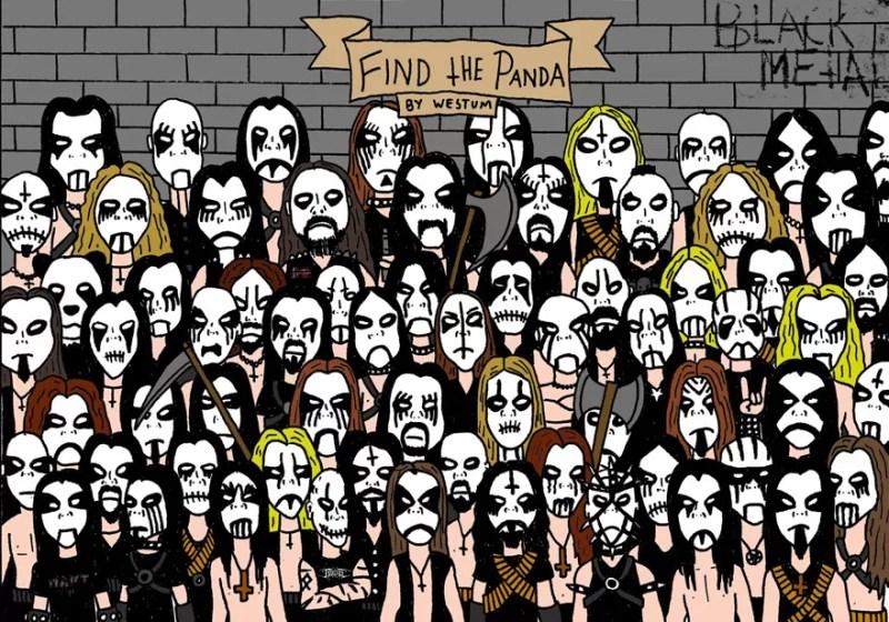 Encontre o panda entre os metaleiros (FOTO: REPRODUÇÃO/ESPEN WESTUM)