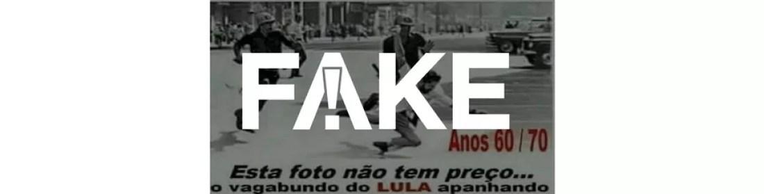É #FAKE que Lula foi retratado apanhando de policiais em uma das fotos mais famosas da ditadura