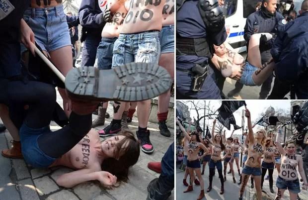 Ato também foi interrompido pela polícia em frente à embaixada da Tunísia em Paris, na França (Foto: Miguel Medina/AFP)
