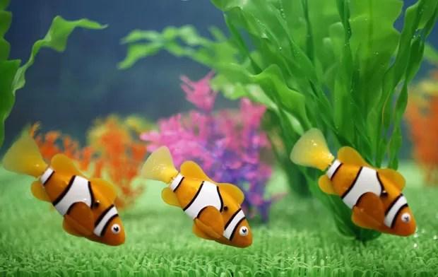 Uma feira de brinquedos que será aberta ao público no sábado (16) no Japão tem como destaque um peixinho robô que pode nadar em um aquário, imitando os peixes reais. Chamado de 'Robo Fish', ele foi criado pela fabricante japonesa Takara Tomy (Foto: Yuriko Nakao/Reuters)