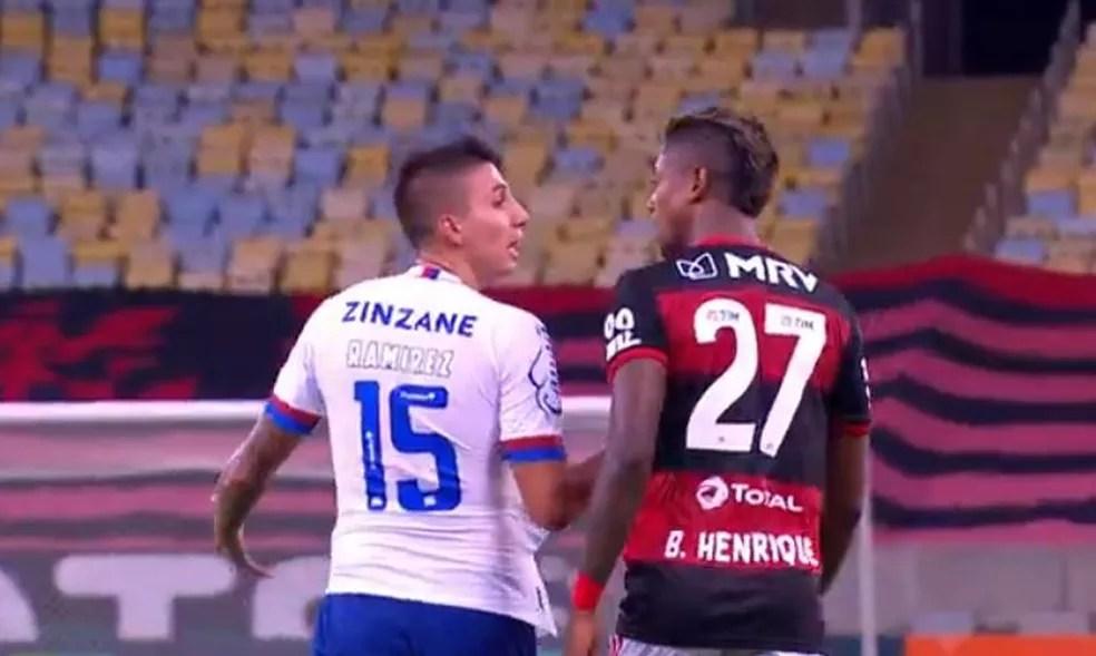 Ramírez Bruno Henrique Flamengo Bahia — Foto: Reprodução