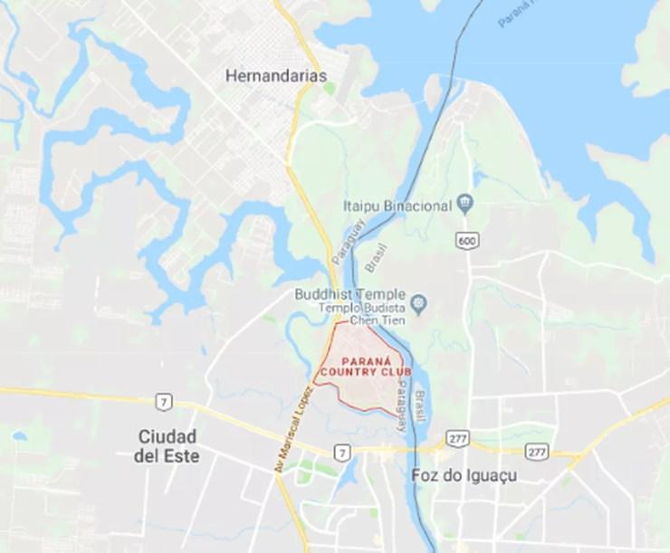 Mapa mostra o Paraná Country Club, condomínio onde a Interpol cercou a cidade de Farina.  — Foto: Reprodução/Google Maps