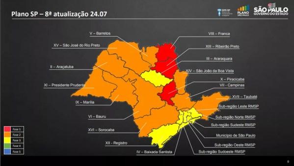Atualização do Plano São Paulo nesta sexta-feira (24 de julho) — Foto: Divulgação/Governo de SP