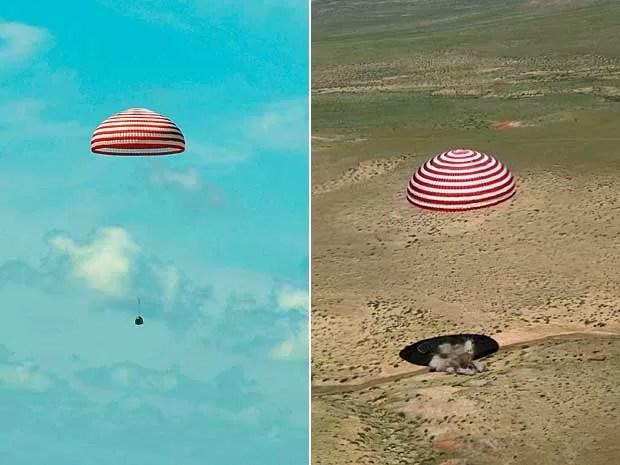 A Shenzhou 9 antes e pouco após a aterrissagem no norte da China. (Foto: AP Photo)