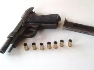 Arma usada no crime foi estava enterrada em matagal (Foto: Michelly Oda/G1)