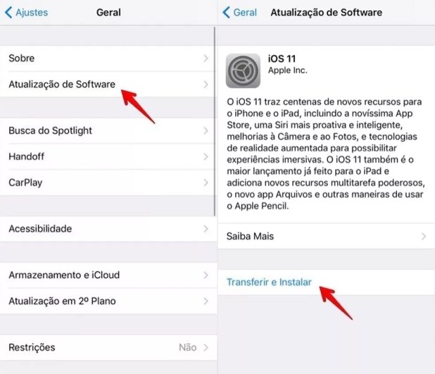 Baixando o iOS 11 (Foto: Reprodução/Helito Bijora)