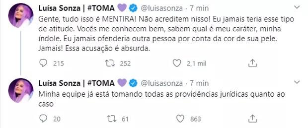 Luísa Sonza nega acusações de racismo (Foto: Reprodução/Twitter)