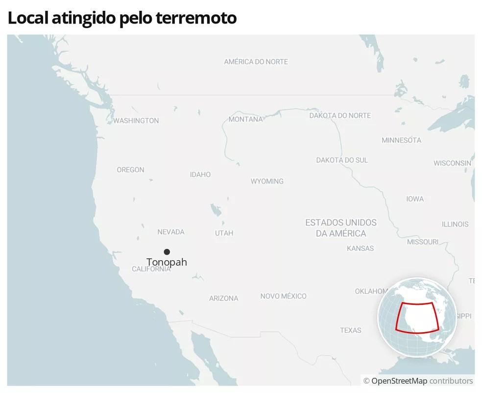 Mapa mostra a localização da cidade de Tonopah, nos Estados Unidos — Foto:  G1