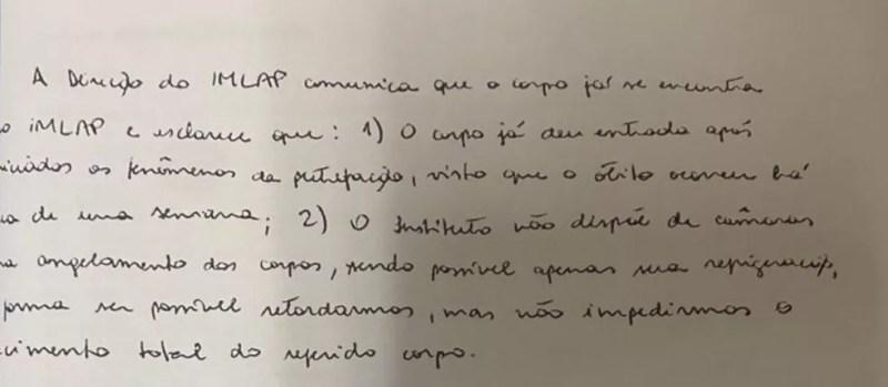Oficio assinado por perita aponta que IML não tem como congelar corpo de Adriano — Foto: Reprodução