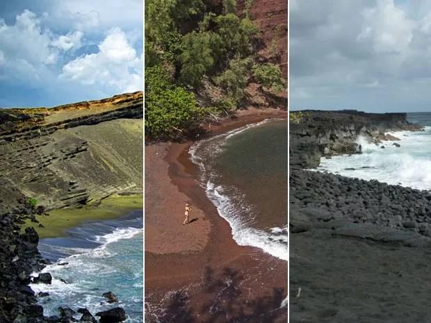 Havaí tem praias de areia verde, vermelha e preta (Foto: Nanovid/Creative Commons; Marco Garcia/AP; Whitehouse/Creative Commons)