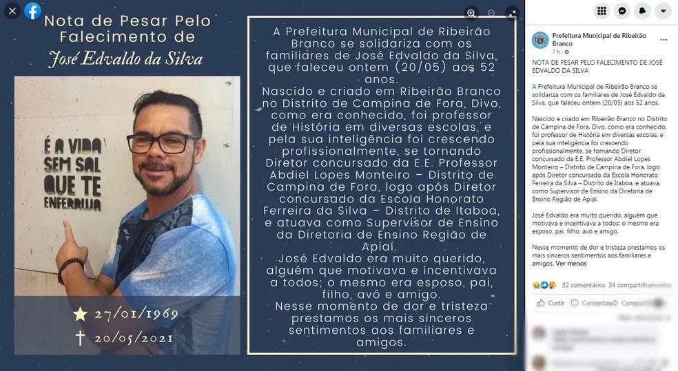 Prefeitura de Ribeirão Branco (SP) fez homenagem à diretor José Edvaldo da Silva, que morreu em Fernando de Noronha (PE) — Foto: Reprodução/Facebook