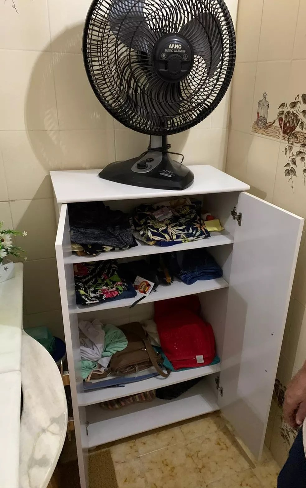 Pertences de empregada eram guardados em um armário pequeno dentro do banheiro — Foto: Reprodução/Arquivo Pessoal