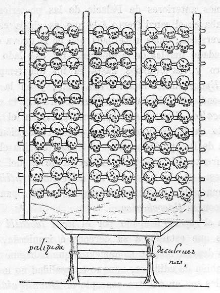Registro da torre de crânios dos astecas (Foto: Wikimedia Commons)