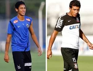 MONTAGEM - Neymar santos e Paulinho Corinthians (Foto: Montagem sobre fotos de Ricardo Saibun / Santos F.C e Daniel Augusto Jr / Agência Corinthians)