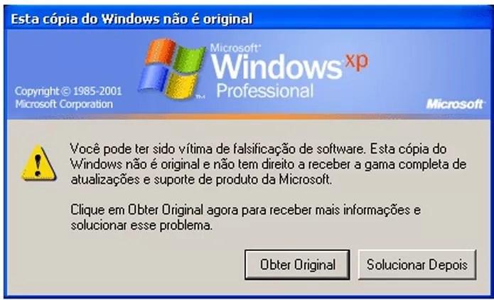 Mensagem sobre legitimidade do Windows é exibida em várias versões do sistema (Foto: Reprodução)