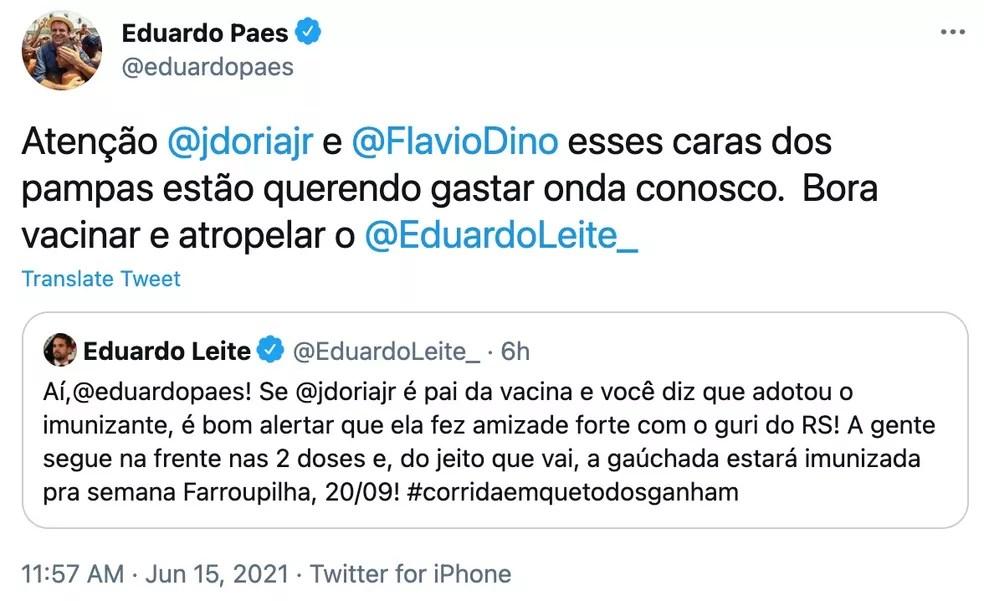 Resposta de Eduardo Paes a Leite, no Twitter — Foto: Reprodução/Twitter