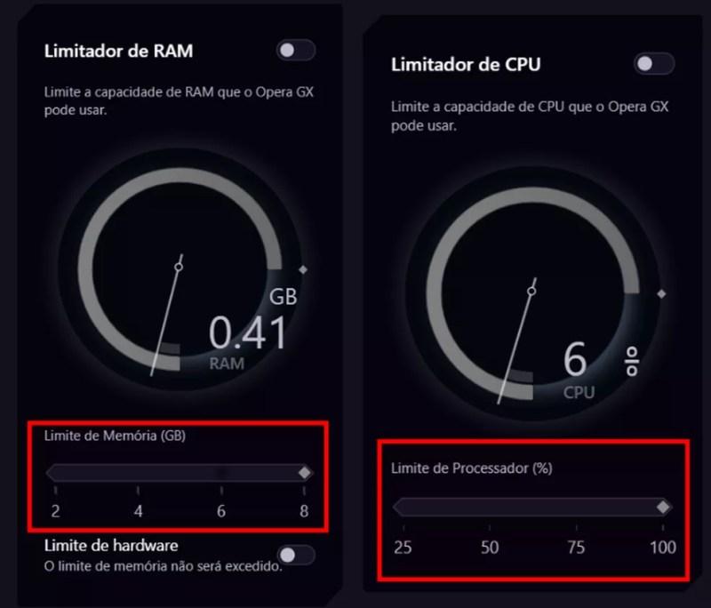 """Ajuste o """"Limite de Memória"""" e o """"Limite de Processador"""" de acordo com suas necessidades — Foto: Reprodução/Marcelo Villela"""