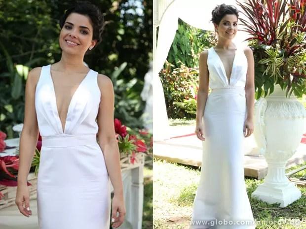 Aline escolheu look sexy mas elegante para o casamento com César (Foto: Jacson Vogel / Amor à Vida)