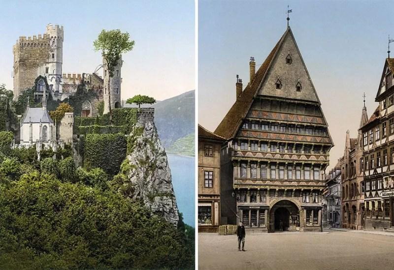 À esquerda, o Castelo de Heinstein; À direita, uma guilda em Hildesheim (FOTO: TASCHEN VIA BOREDPANDA)