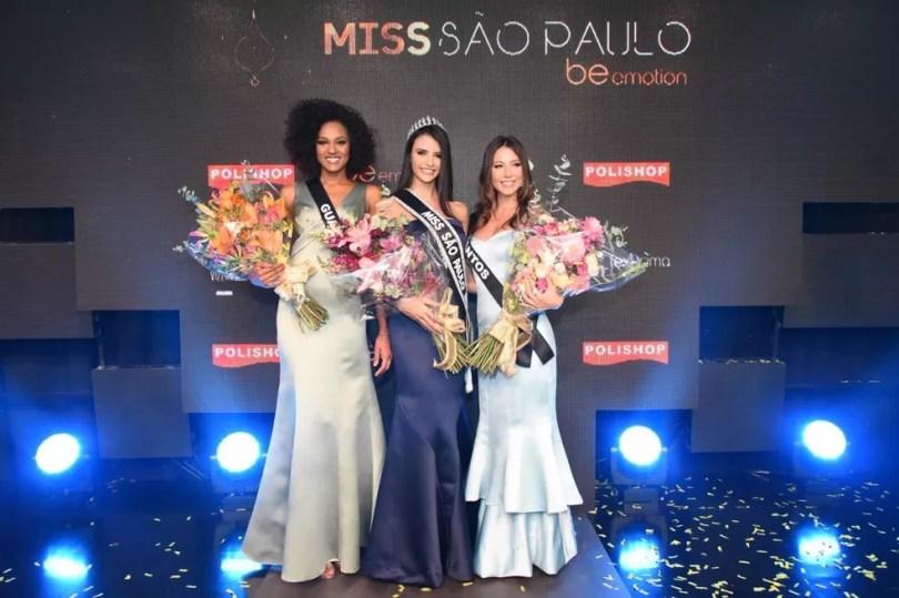 Miss Guariba, Letícia de Sousa, a Miss SP, Paula Palhares, e a Miss Santos, Natália de Oliveira (Foto: Rodrigo Trevisan/Divulgação/Band)