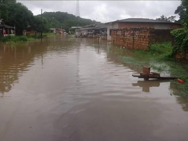 Canal foi inundado pela primeira vez no período chuvoso (Foto: Divulgação/Prefeitura Ferreira Gomes)