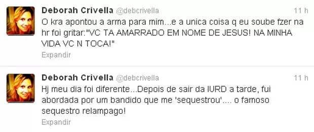 Em rede social, filha do ministro da Pesca conta como foi a abordagem do sequestrador (Foto: Reprodução/Twitter)
