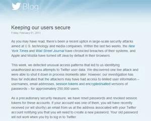 Hackers podem ter obtido acesso a senhas e outras informações de até 250 mil contas de usuários do Twitter, diz blog da companhia (Foto: Reprodução)